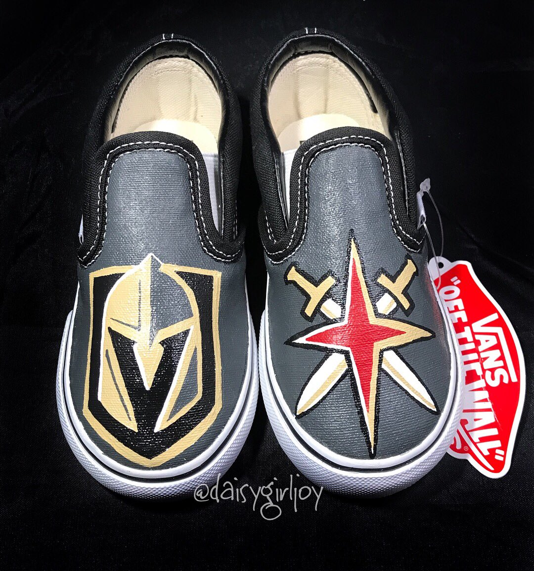 Las Vegas Golden Knights custom toddler shoes #lasvegasknights #lasvegas #vegasborn #lasvegasgoldenknights #customshoes #paintedvans #paintedshoes #angelusshoepolish #angelusdirect #nhl #teamspirit #stanleycup