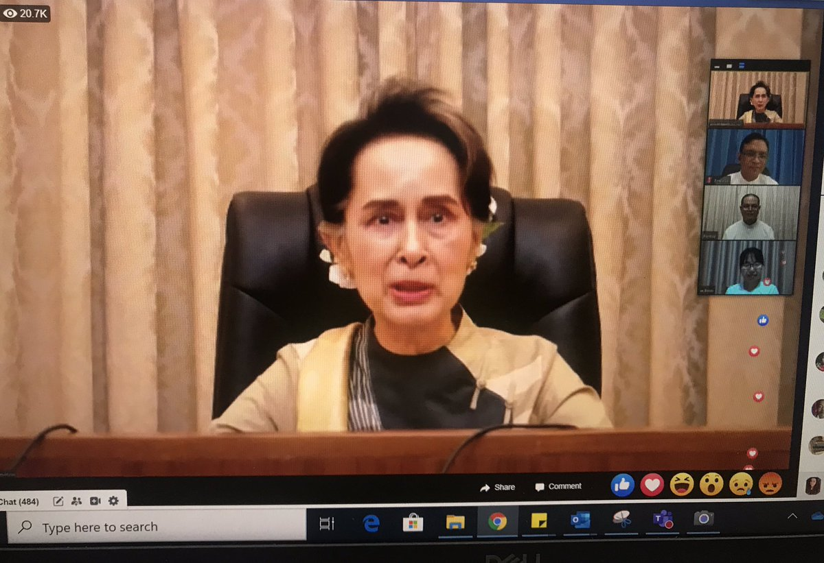 """""""The education we are heading towards is not just to get a graduation certificate,"""" said State Counsellor Aung San Suu Kyi during her video conference regarding the discussion of reopening Myanmar schools soon. https://t.co/VR8qOiDDTN"""