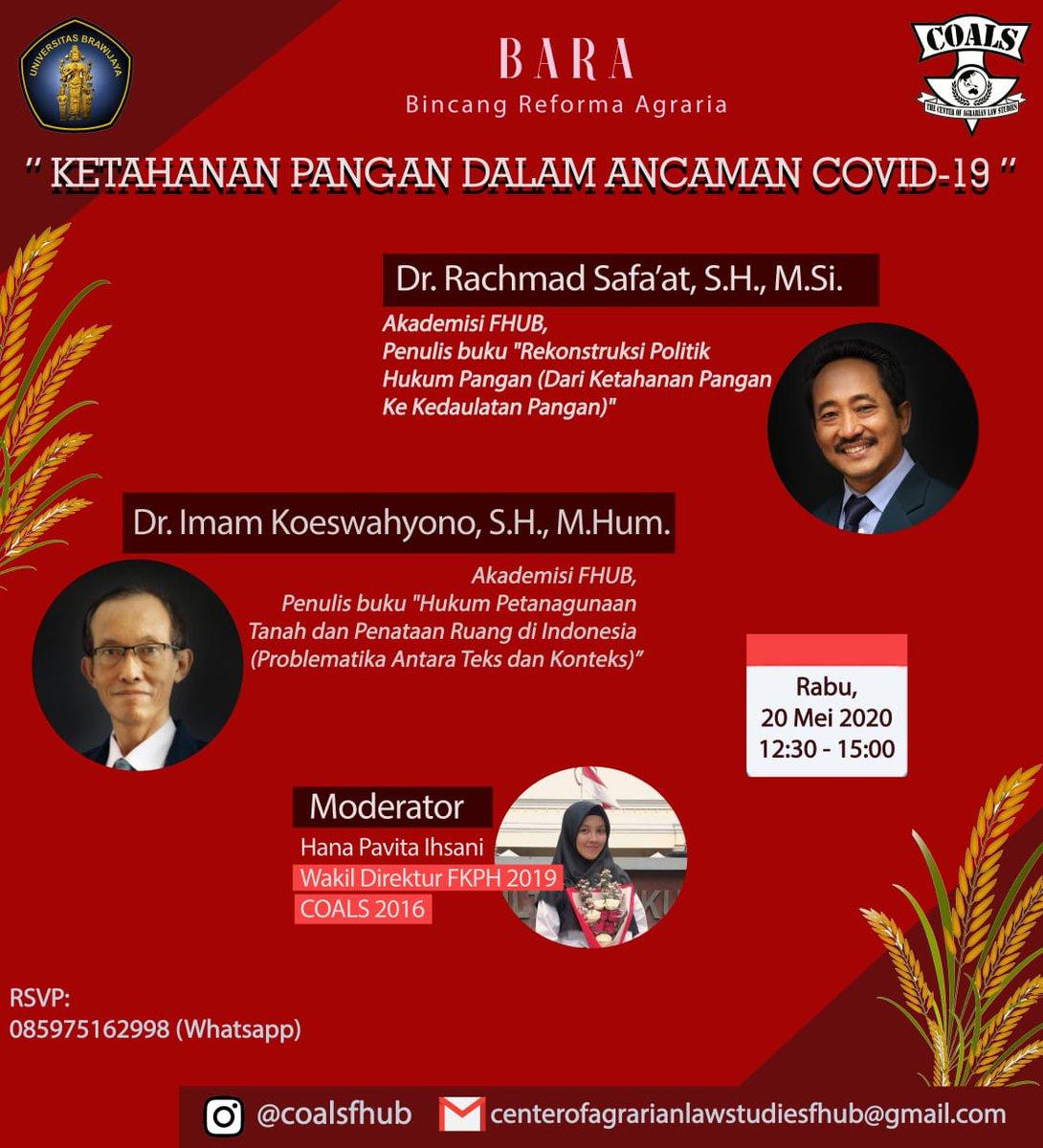 @berlianidris FH @UB_Official jg tdk kalah kita bahas Ketahanan Pangan Indonesia Dalam Ancaman Covid-19.
