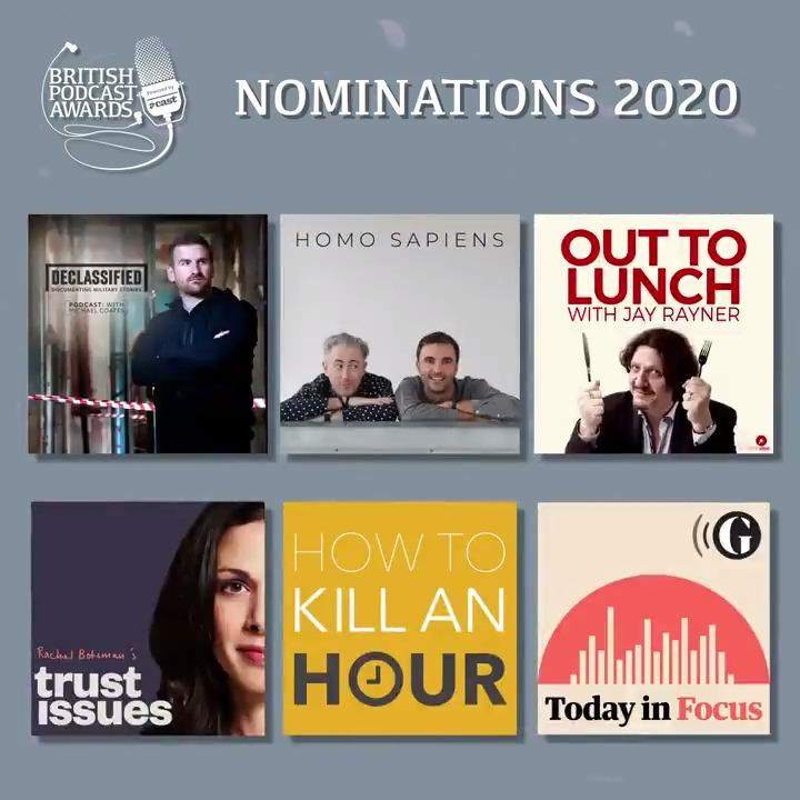 Here's our Best Interview Podcast nominees: @rachelbotsman, @declassnetwork, @mrchrissweeney, @howtokillanhour, @jayrayner1 and @guardian #britpodawards https://t.co/lwC0p9oS52