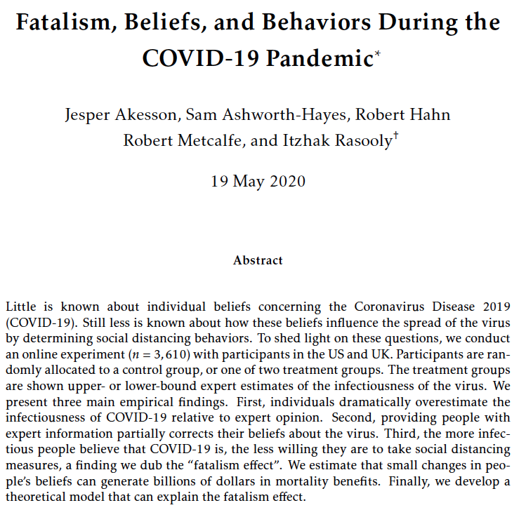 New research by our team (@jesper_akesson, @RDMetcalfe, @SAshworthHayes, Bob Hahn, and Itzhak Rasooly) on people's COVID-19-related beliefs and behaviours!