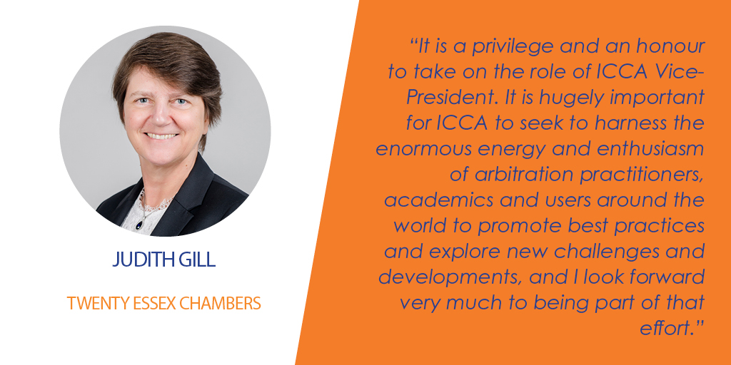 Finally, we were proud to welcome Judith Gill QC – who has already served a term on the ICCA Governing Board – to the role of ICCA Vice-President. To learn more about Judith's career in #international #arbitration, click here: https://www.arbitration-icca.org/about/governing-board.html …  #ICCALeadershippic.twitter.com/kLRHpx39jp