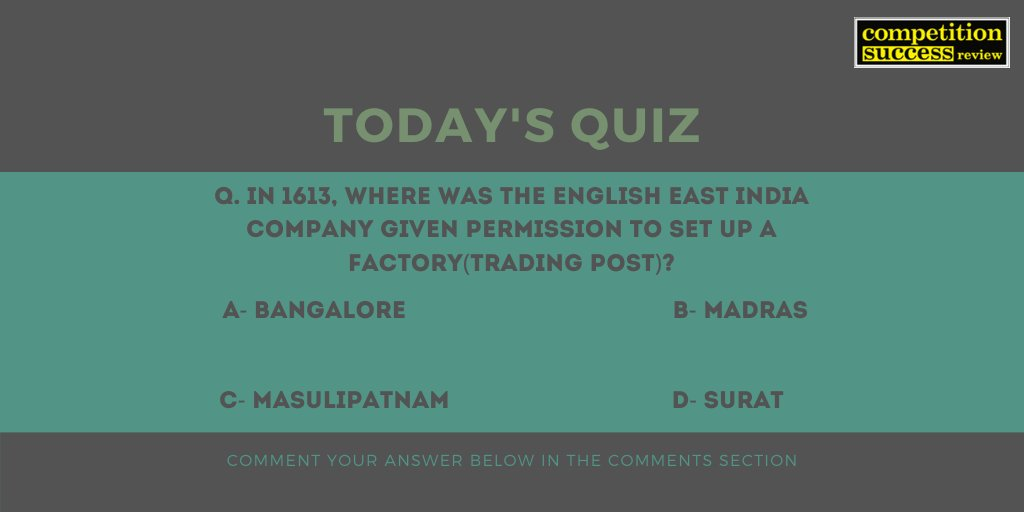 Comment the answer in the comments section. The correct answer will be posted by 6 PM today. #CSRQuickPrep #CSRMagazine #Competitionsuccessreview #CurrentAffairs #currentaffairsupsc #CurrentAffairsQuiz #QuestionOfTheDay #upsc #upsc2019 #upsc2020pic.twitter.com/9PjnJP5cxj