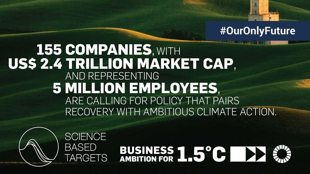 Major multinationals are reaffirming their @sciencetargets and calling on Governments to match their ambition in the largest ever @UN-backed CEO-led climate advocacy statement.  We must protect #OurOnlyFuture and recover better from #COVID19: https://t.co/swbr6MqNhH https://t.co/2SGB85hmLL