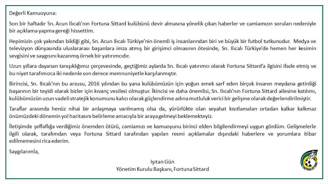 Son dakika! Acun Ilıcalı'nın satın almak istediği Fortuna Sittard kulübünün Türk lideri Işıtan Gün'den resmi açıklama! 2