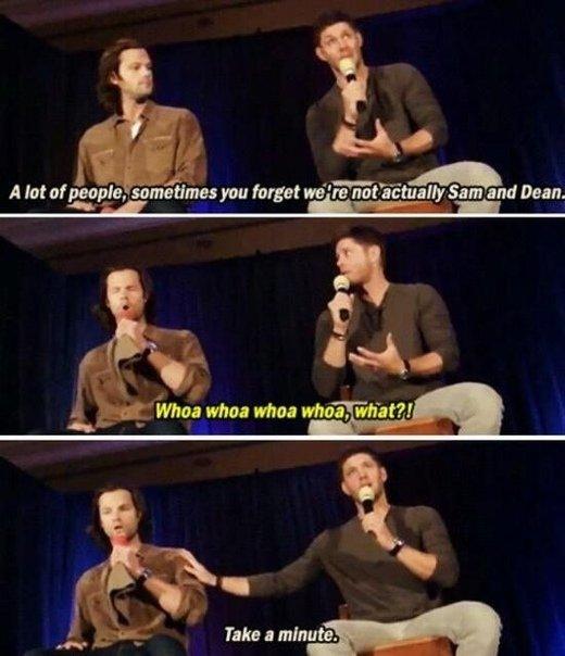 — Многие люди иногда забывают, что мы на самом деле не Сэм и Дин. — Воу, воу, воу. ЧТО? — Передохни минутку. #supernatural15 #сверхъестественное #supernatural #spn