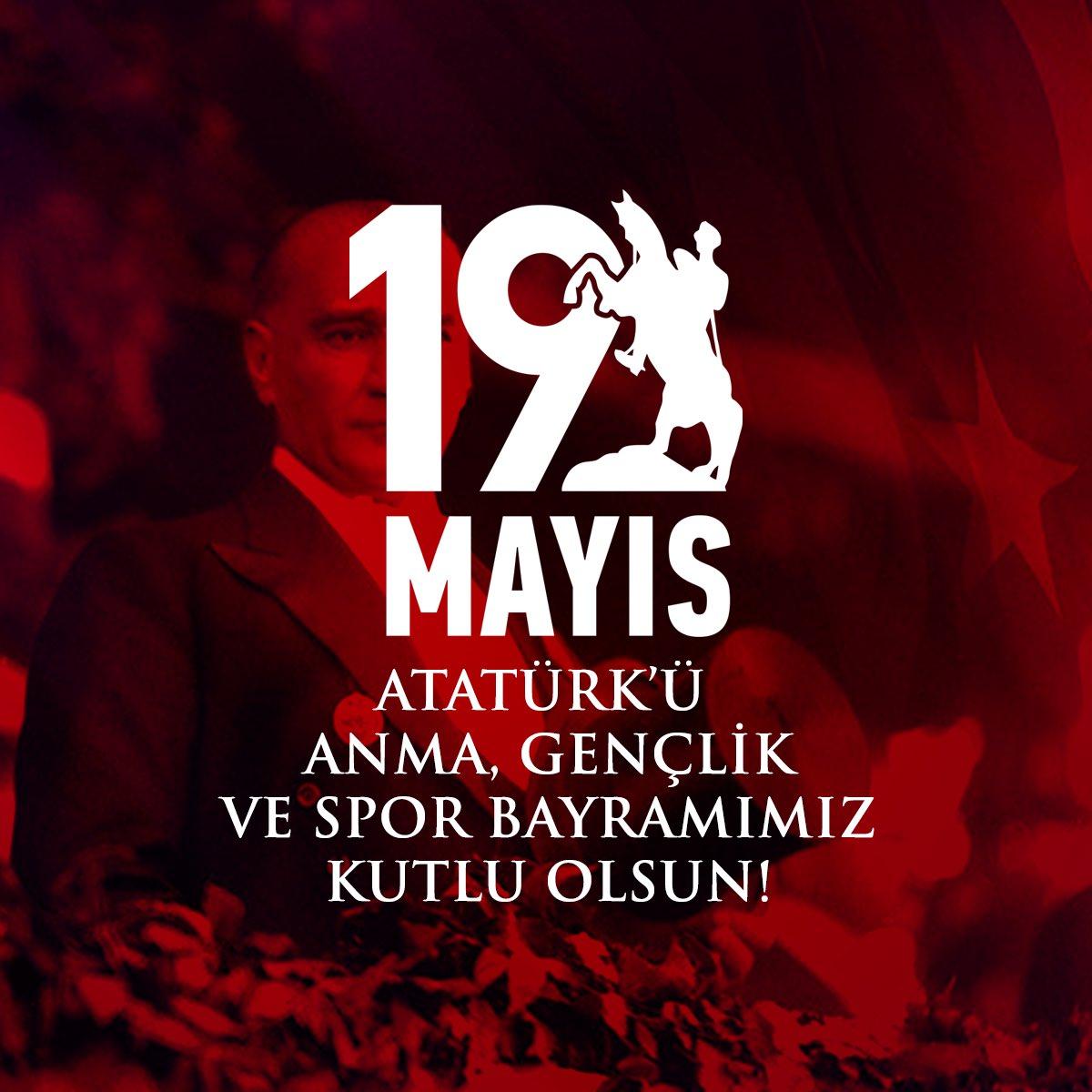 """""""Bütün ümidim gençliktedir.""""   Gazi Mustafa Kemal Atatürk'ün geleceği emanet ettiği gençlere armağanı #19Mayıs Atatürk'ü Anma, Gençlik ve Spor Bayramımız kutlu olsun. https://t.co/KfsKmM8QAF"""