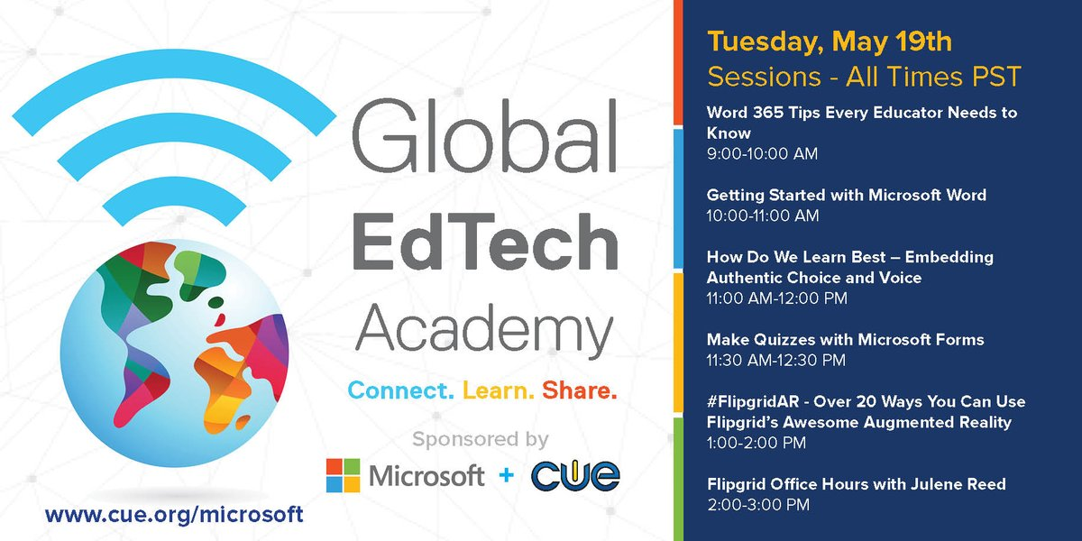 Todays the DAY! We are bringing 14 WEEKS of pedagogy and PD for FREE with the Global EdTech Academy in partnership with #MicrosoftEDU. ->CUE.org/microsoft<- Were adding more sessions throughout the week! #GETA #WeAreCUE #MACUL #ACSA #CALSA