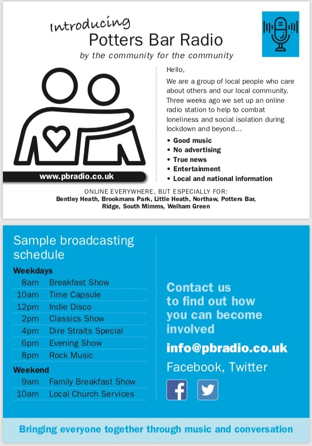 Amazing local volunteers have set up Potters Bar Radio - a music and news channel aimed at combatting the isolation blues. If you live in the Little Heath or Welham Green parts of my constituency, this is definitely worth a listen: pbradio.co.uk/radio/radio.ht…