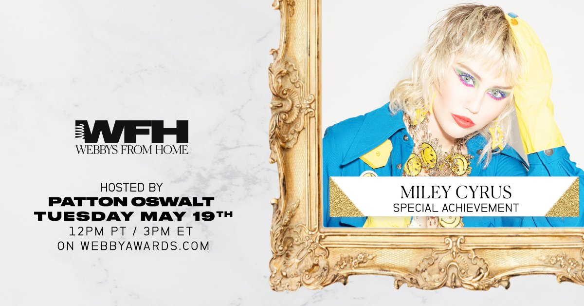 For her Instagram Live show, Bright Minded, we're excited to present @MileyCyrus with a 2020 Webby Special Achievement Award! 🎉 https://t.co/JRipz8YduG  Experience The #Webbys Internet Celebration including Miley's 5-Word Speech today @ 12PM PT | 3PM ET @ https://t.co/dZiWzH4UXY https://t.co/h6moOuKtvc