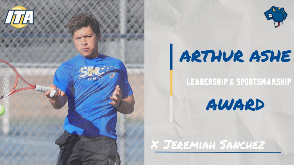 Congratulations to @StMUtennis senior Jeremiah Sanchez on being named the South Central Region Arthur Ashe Leadership and Sportsmanship Award winner! #FangsOut