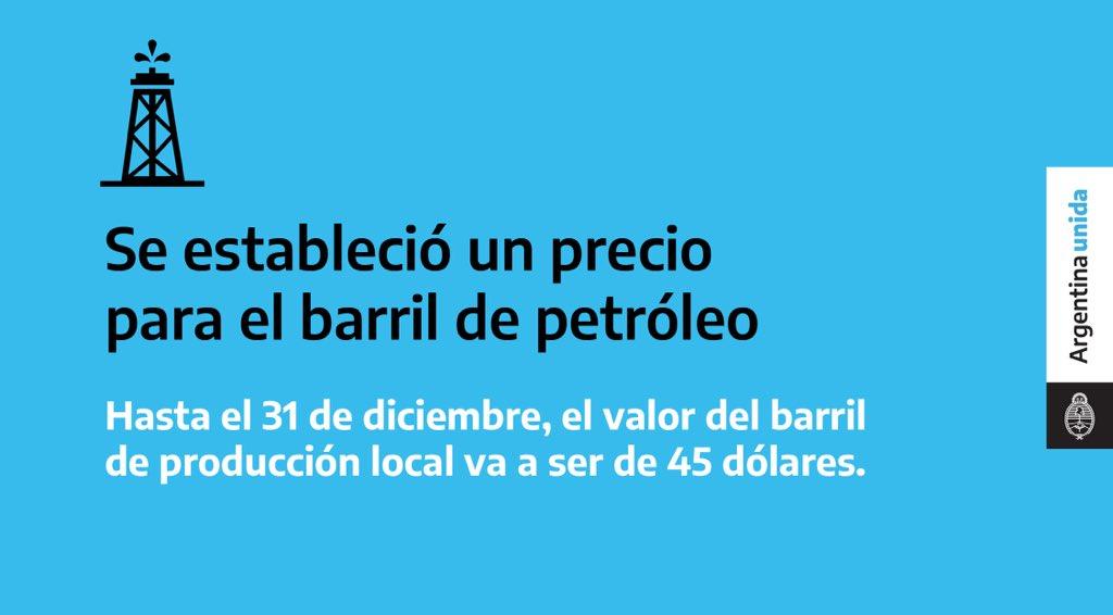 Fijamos un precio para el barril de petróleo de producción local que permitirá sostener la actividad productiva y los puestos de trabajo, evitar la importación y promover el desarrollo de las PyMEs de servicios petroleros. Toda la información en: https://t.co/LhPsoJooh6 https://t.co/cFU06odm0y