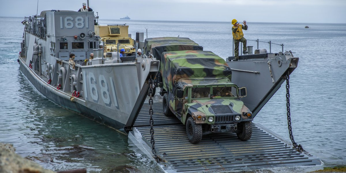 Dock and Deliver Marines assigned to @imig_marines, unload equipment and personnel from a landing craft utility at San Clemente Island, California. The LCU, which launched from the @USNavy's #USSComstock, conducted ship to shore movement.
