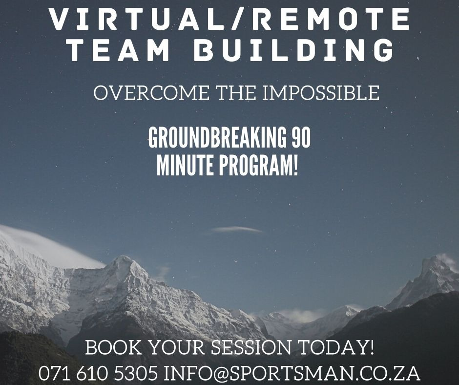 Overcome the IMPOSSIBLE. Book your fun virtual team build session today. http://www.sportsman.co.za  #virtualteams #teammeetings #remoteteamwork #teambuilding #virtualteambuildingpic.twitter.com/dBZy1M79F0