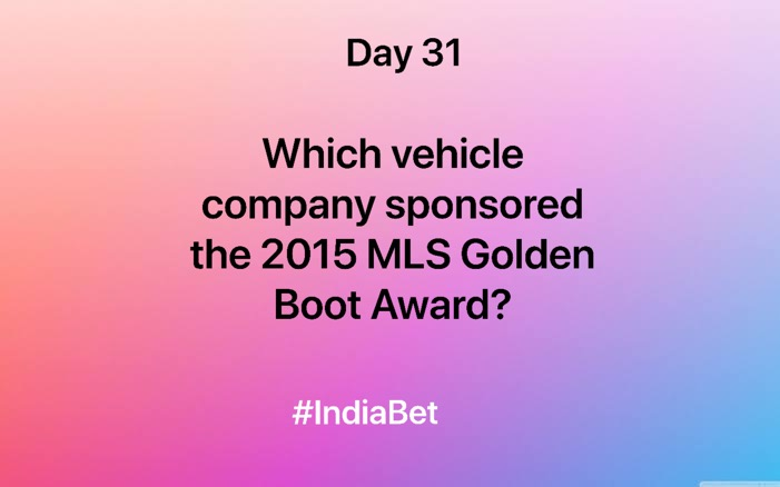 Day 31!   Answer & win 3000 IBR!   #ContestAlert #SportsQuiz #Soccer #SoccerQuiz #MLS #GoldenBootAward #Gaming #MobileGames https://t.co/9Rs52MJGWk