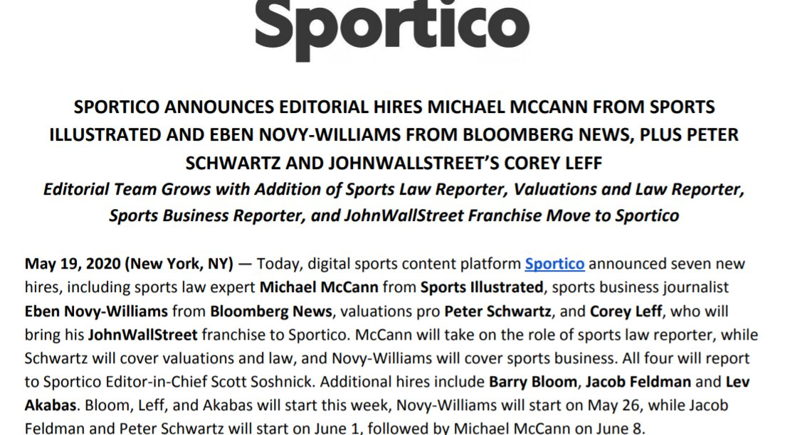 Congrats to the first members of the @Sportico editorial team. Halfway there. More to come!