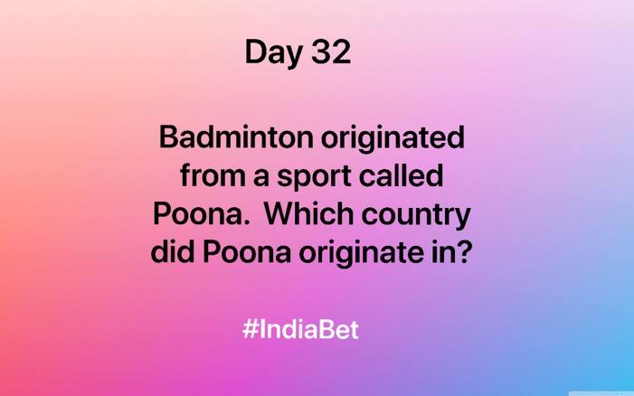Day 32!   Answer & win 3000 IBR!   #ContestAlert #SportsBiz #SportsQuiz #Badminton #Gaming #MobileGames https://t.co/6yKjat8d0Y