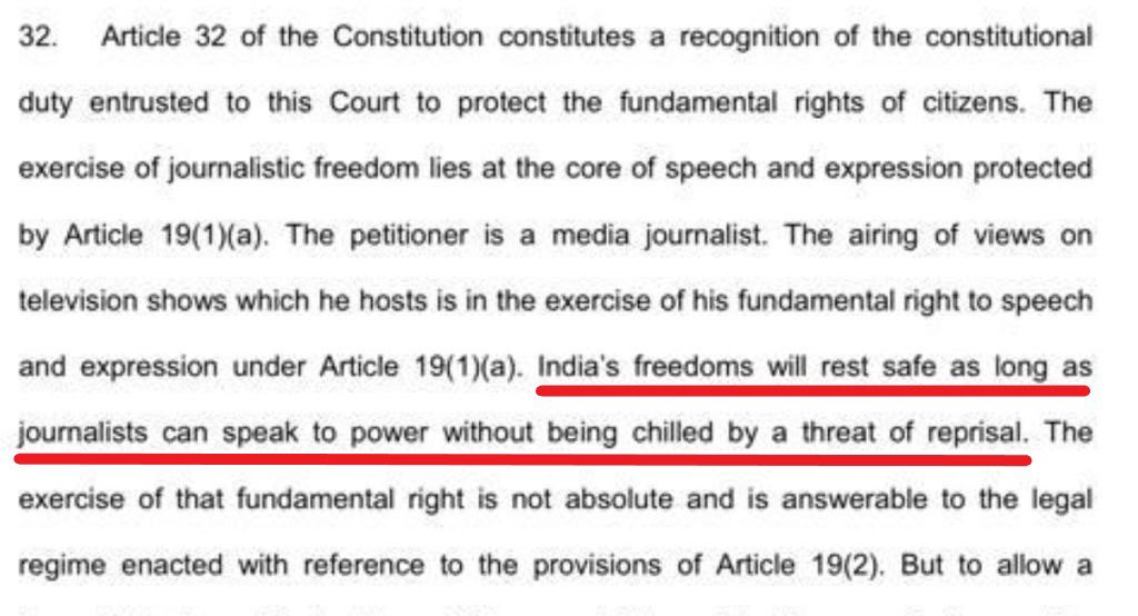 Regarding the bogus FIRs filed to trouble Arnab Goswami, SC recognised yet again the journalist's right to free speech and quashed multiple FIRs. It stated 'India's freedom will rest safe as long as journalist can speak to power without being chilled by a threat of reprisal.' https://t.co/FSNGqegsDL