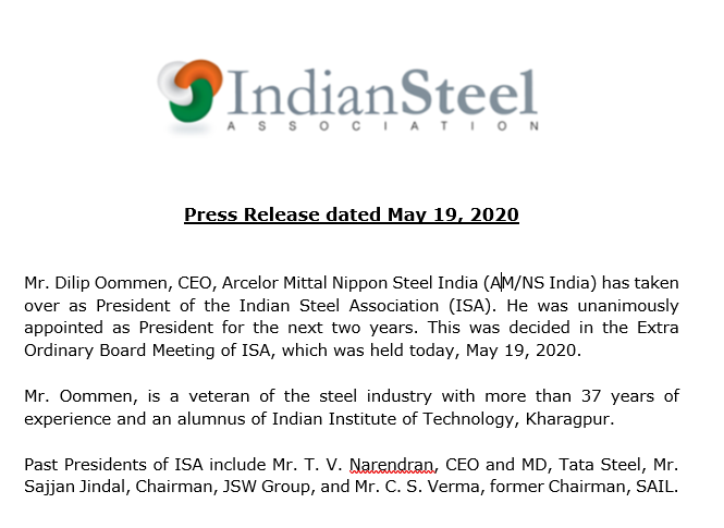 PRESS RELEASE:   Mr. Dilip Oommen (@dilipoommen), CEO, Arcelor Mittal Nippon Steel India (@AMNSIndia) has taken over as President of the Indian Steel Association. https://t.co/Nw2zVNAdYO