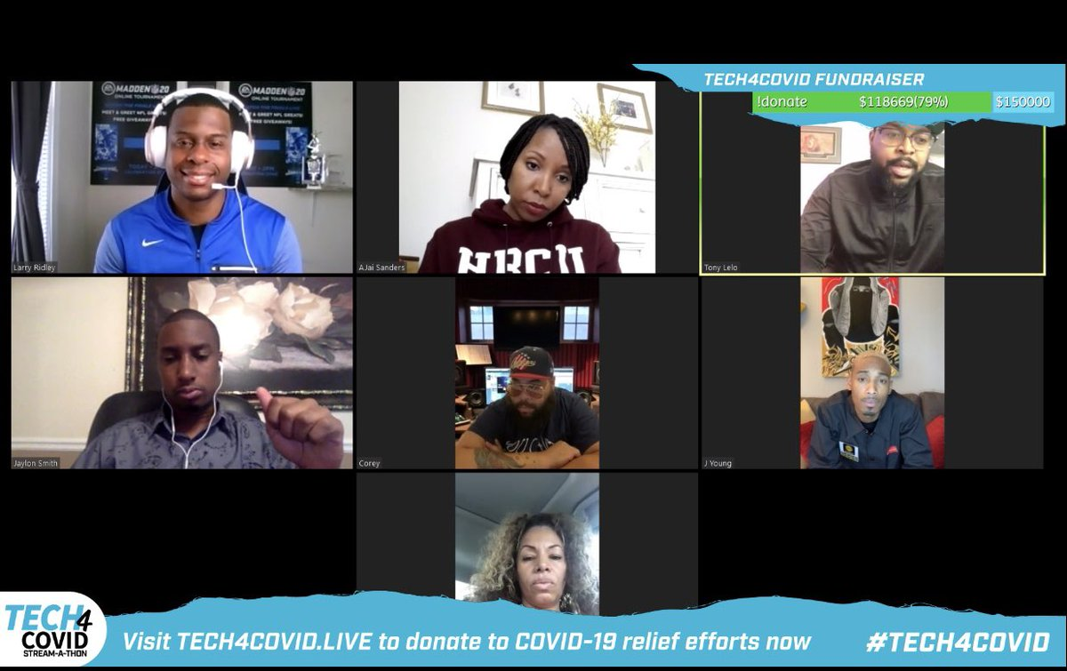 Had some fun raising money for Students @HBCUHeroes to get computers/laptops during #TECH4COVID Stream-A-Thon I got to laugh thanks to Comedian/Actress @ajaisanders and the Talented group @thehamiltonesnc and @JyoungMDK Thanks guys and gals!! https://t.co/F87fczcn82