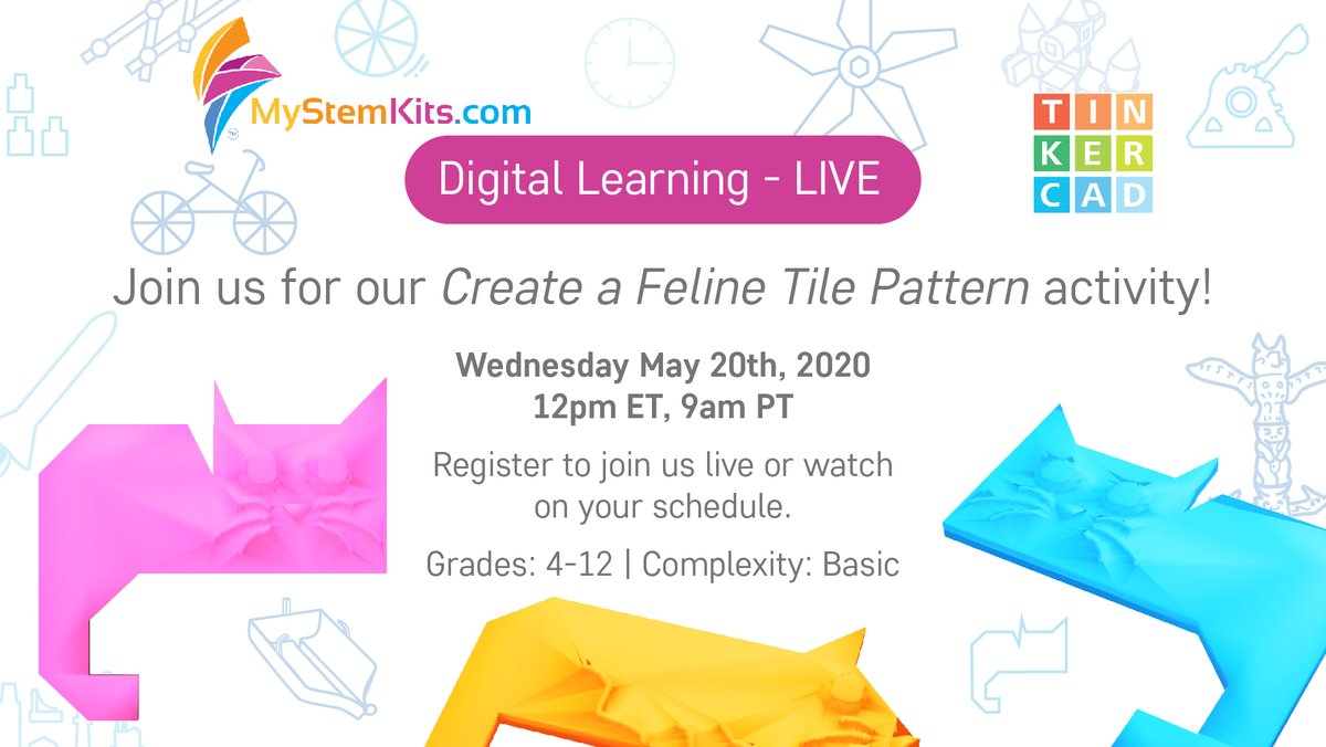 Meow! Join us tomorrow for Part 1 of our Introduction to @Tinkercad #Codeblocks activity revolving around this cat tile!  Learn more abt #tessellations & #3Dmodeling with our new #3Dprintable kit by signing up for a free trial before tomorrow's #LIVE course
