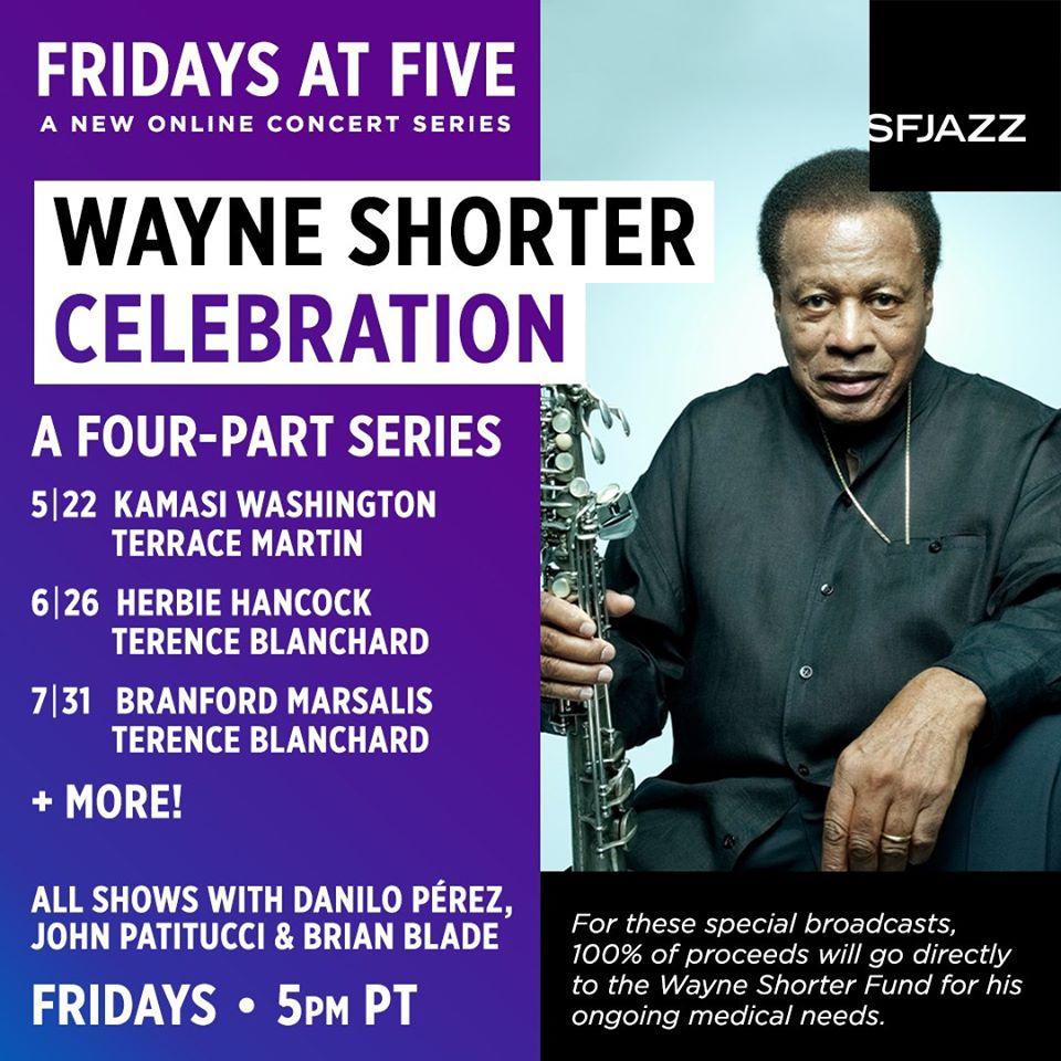 On May 22, @SFJAZZ presents the celebration of @Wayne_Shorter featuring the world premiere of a 2019 tribute concert at the SFJAZZ Center, featuring Kamasi Washington, Terrace Martin, Danilo Pérez, John Patitucci, and Brian Blade. sfjazz.org/watch