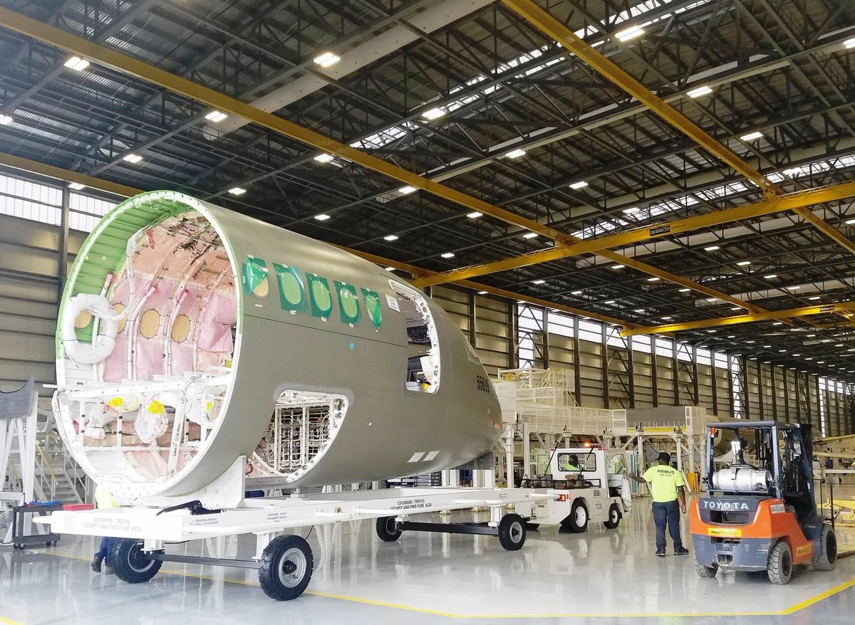 """Ryan Ewing's tweet - """"Airbus has started A220 production at its ..."""