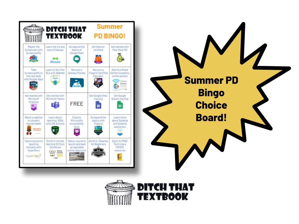 What are we going to do this summer? When youre ready to level up your skills, this summer PD choice board will give you LOTS of ideas! Lots of #MicrosoftEDU and #GoogleEDU goodness. Plus, its customizable! More: ditchthattextbook.com/summer-pd/ #DitchBook #techlap #remotelearning
