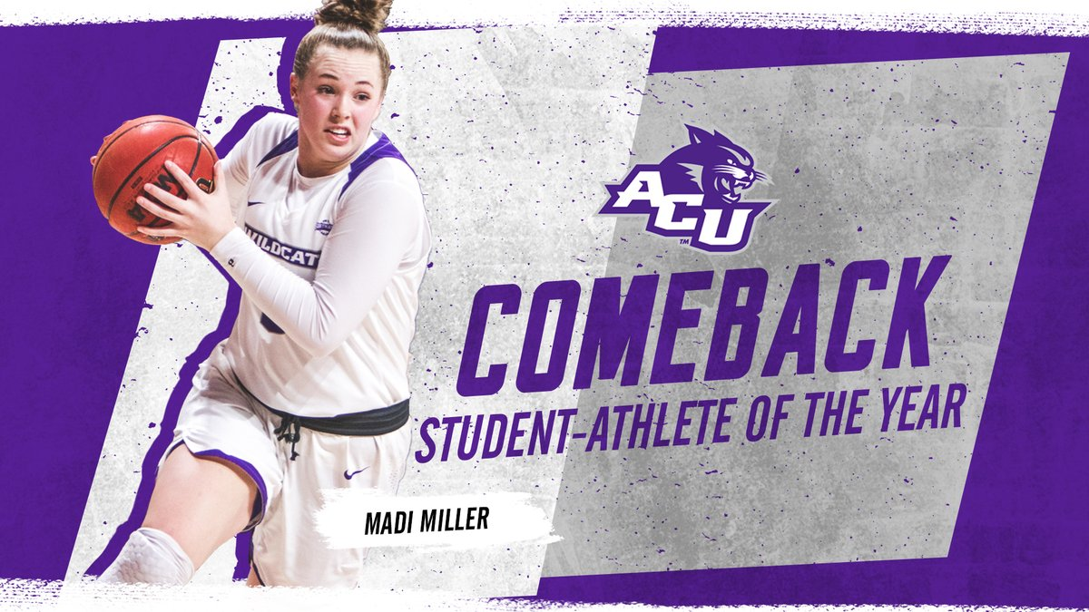 She broke her hand in January and came back to play a week later. She's @ACUWBB's @madi_basketball, the Comeback Student-Athlete of the Year!  RELEASE: https://t.co/9WYpYYWr3Z  #GoWildcats #AwardWeek https://t.co/1zRtXcuD4b