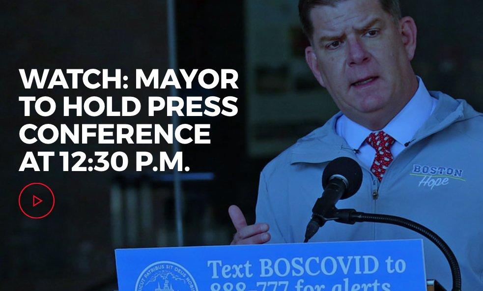 Mayor @marty_walsh will hold a #coronavirus #COVID19 press conference at 12:30 p.m. ow.ly/qaFa50zKj8l