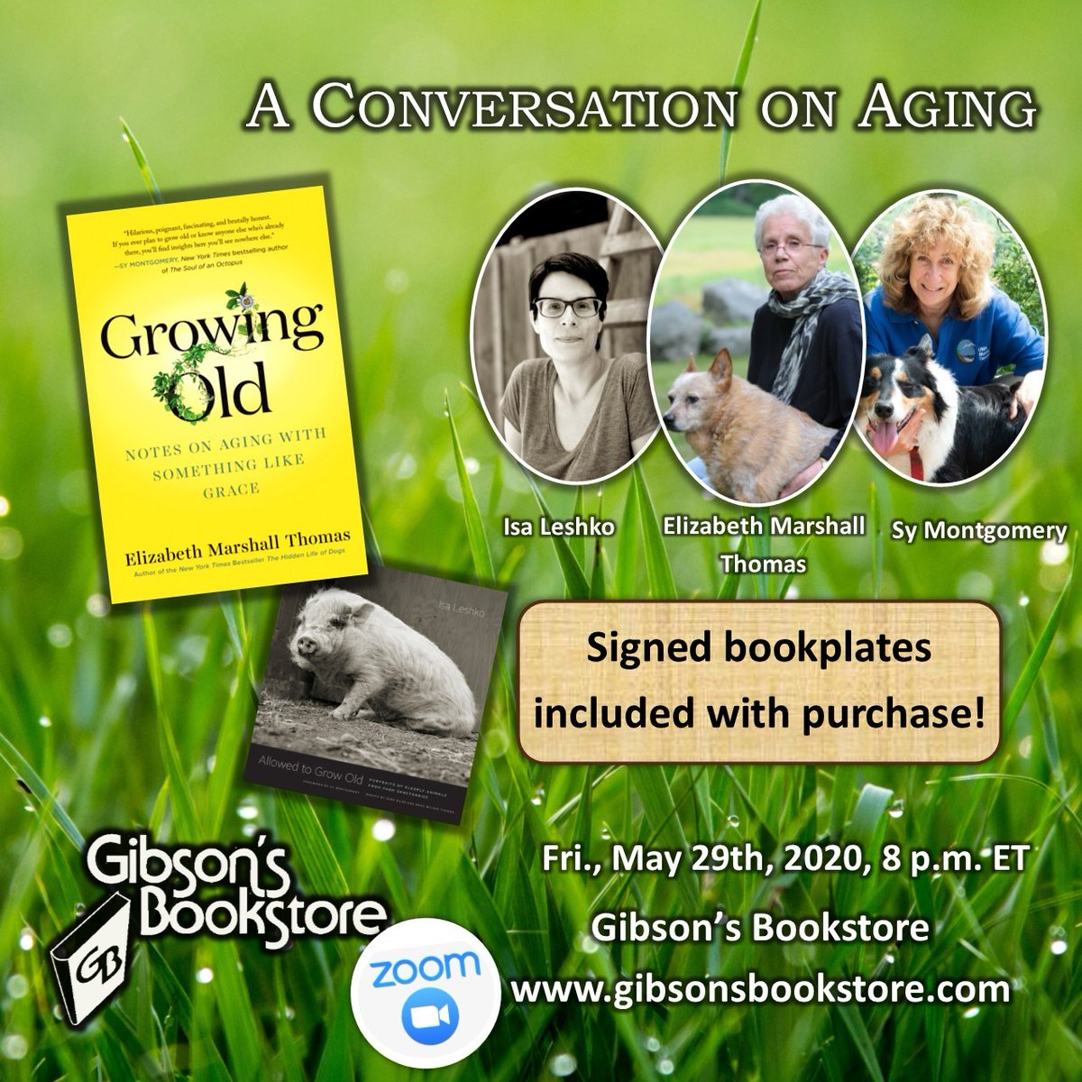 Don't miss Isa Leshko, author of ALLOWED TO GROW OLD, in conversation with Sy Montgomery and Elizabeth Marshall Thomas on 5/29, organized by @GibsonsConcord. Register: https://bit.ly/2AJ2dMo @IsaLeshkopic.twitter.com/pztH1RTKew
