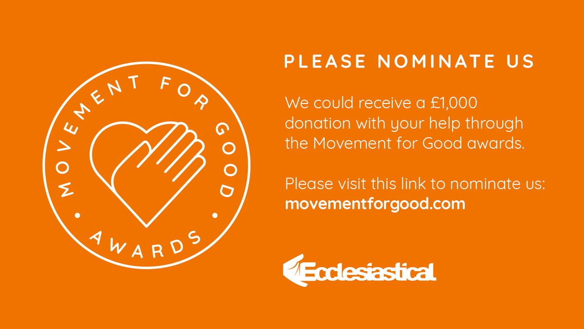Your nomination could win us a £1,000 @Ecclesiastical Movement for Good award. Visit movementforgood.com and enter our details. Please share this with your friends. Thanks for your support! #movementforgood