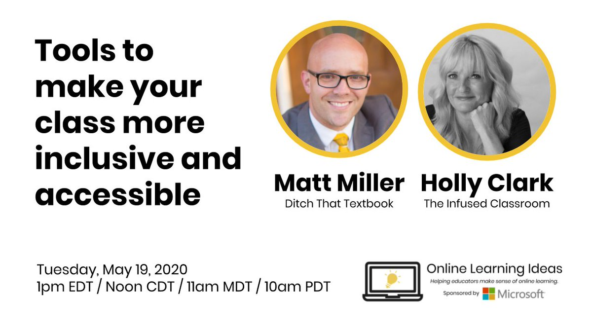Tools to make your class more inclusive and accessible Join @HollyClarkEdu and me for a live video RIGHT NOW (or on this link as a replay): youtube.com/watch?v=l2cvFx… #DitchBook #MicrosoftEDU #remotelearning