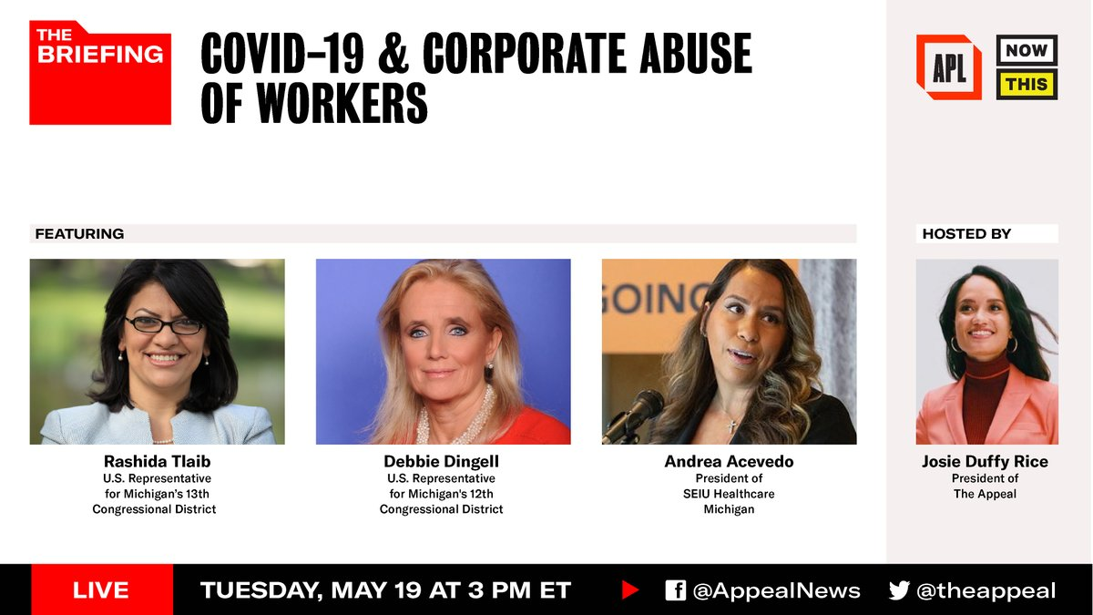 Today on the 'Briefing': Reps. @RashidaTlaib and @RepDebDingell and Andrea Acevedo, President of @seiuhcmi, discuss the neglect and abuse workers are enduring under corporate employers and the movement for a care economy.  🕛 3 PM ET 👥 Hosted by @jduffyrice 📺 LIVE @theappeal https://t.co/uUVdW0SGyz