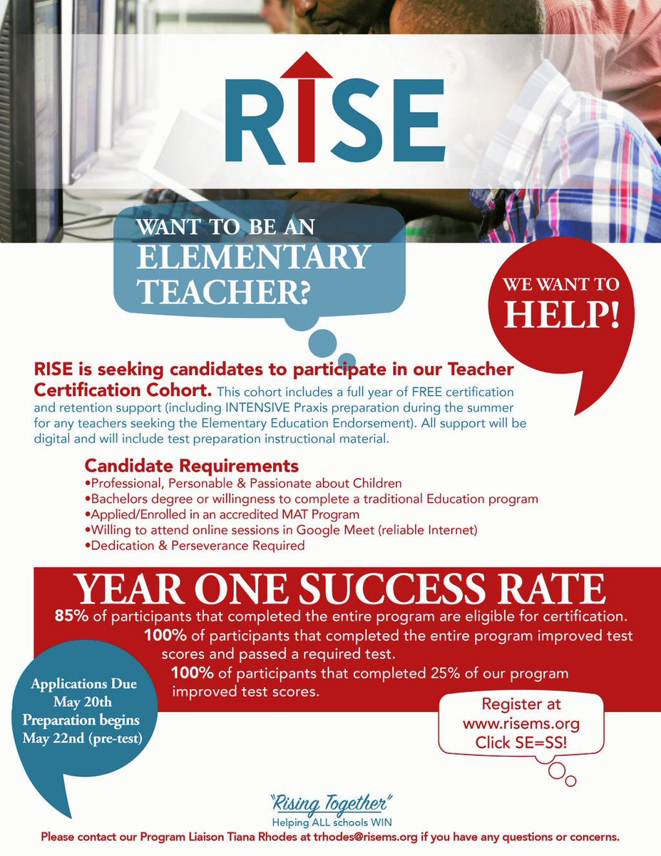 Were looking for candidates to participate in our Teacher Certification Cohort! Please see the flyer for program requirements. If youre interested, and you qualify, apply here: shorturl.at/jAELS