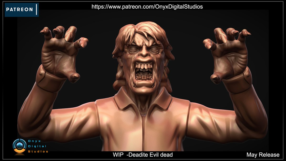 WIP of another one of my 3d printable Deadite models from Evil dead :)  #evildead #miniature #Bust #3dmodeling #3Dprinting #3dprintable #3dmodels #patreoncreator