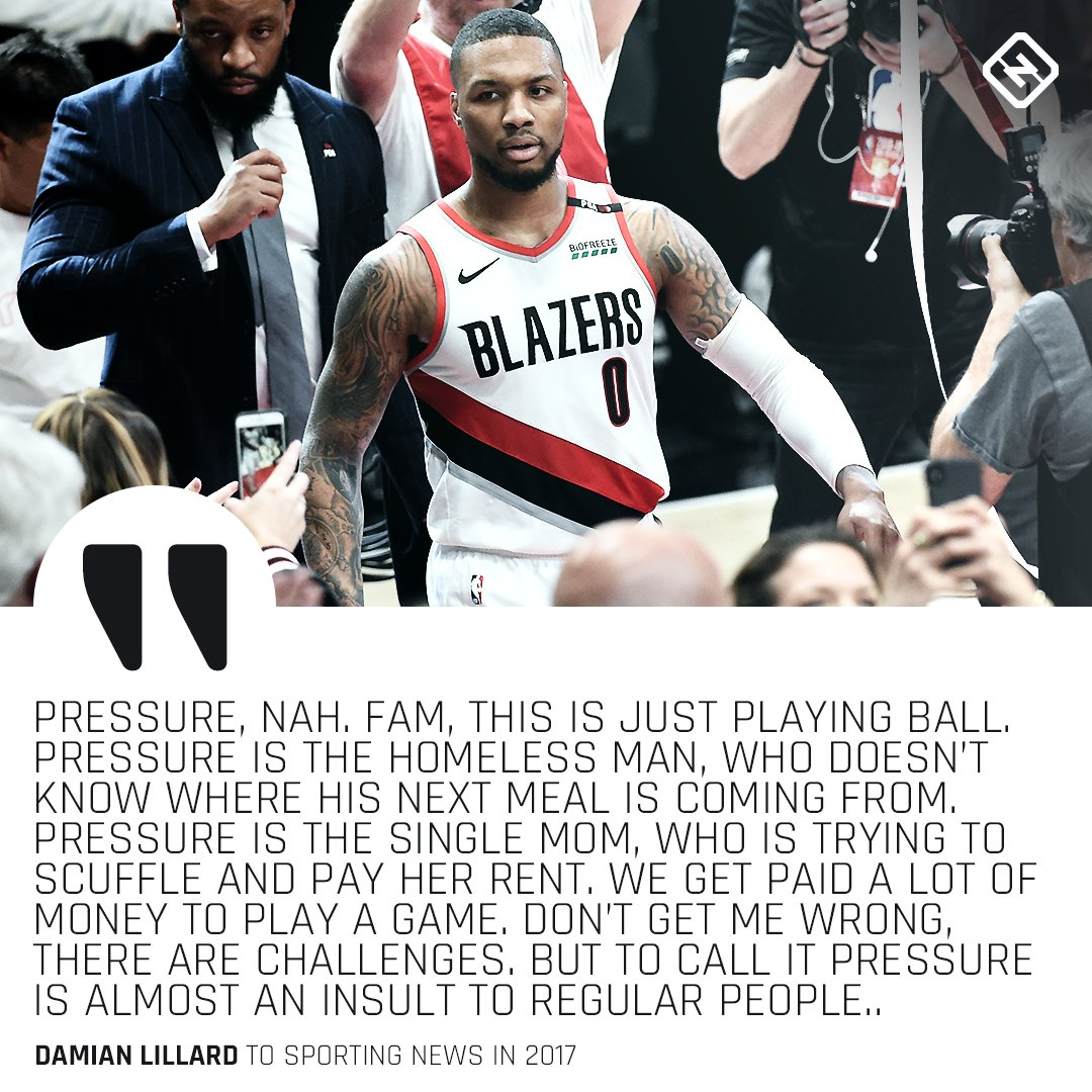 This @Dame_Lillard quote about pressure is still relevant. https://t.co/QVhSXpTj9t