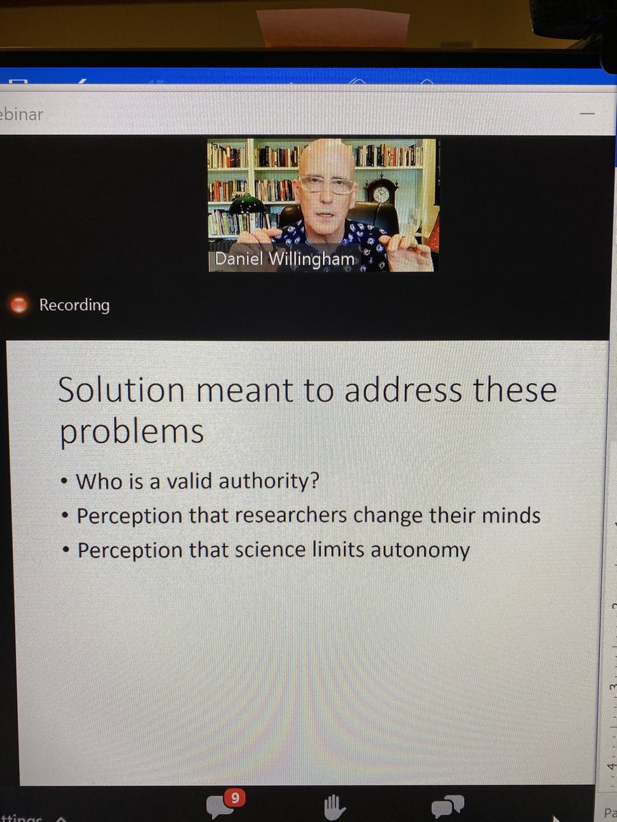 @DTWillingham discussing in a webinar on why there isn't acceptance of a settled science in education.