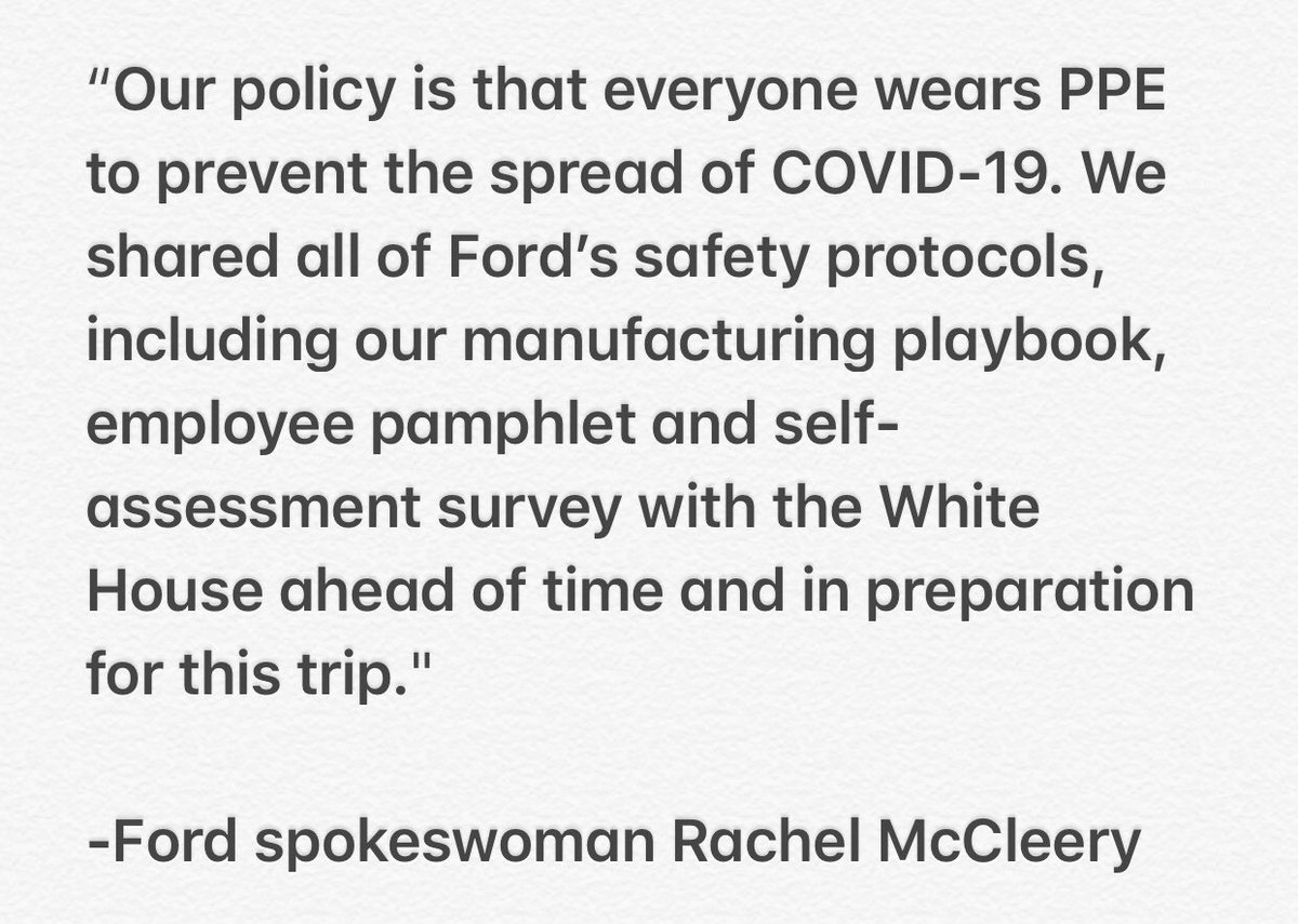 .@Ford tells @CBSNews the President will have to wear a mask when he visits its Ypsilanti, MI plant on Thursday: