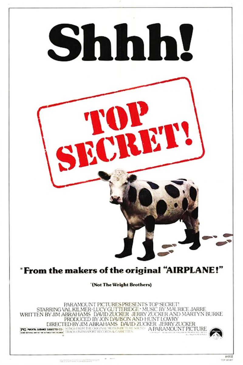 13. A movie with a cow TOP SECRET! (1984) (fooled you, didnt i?)