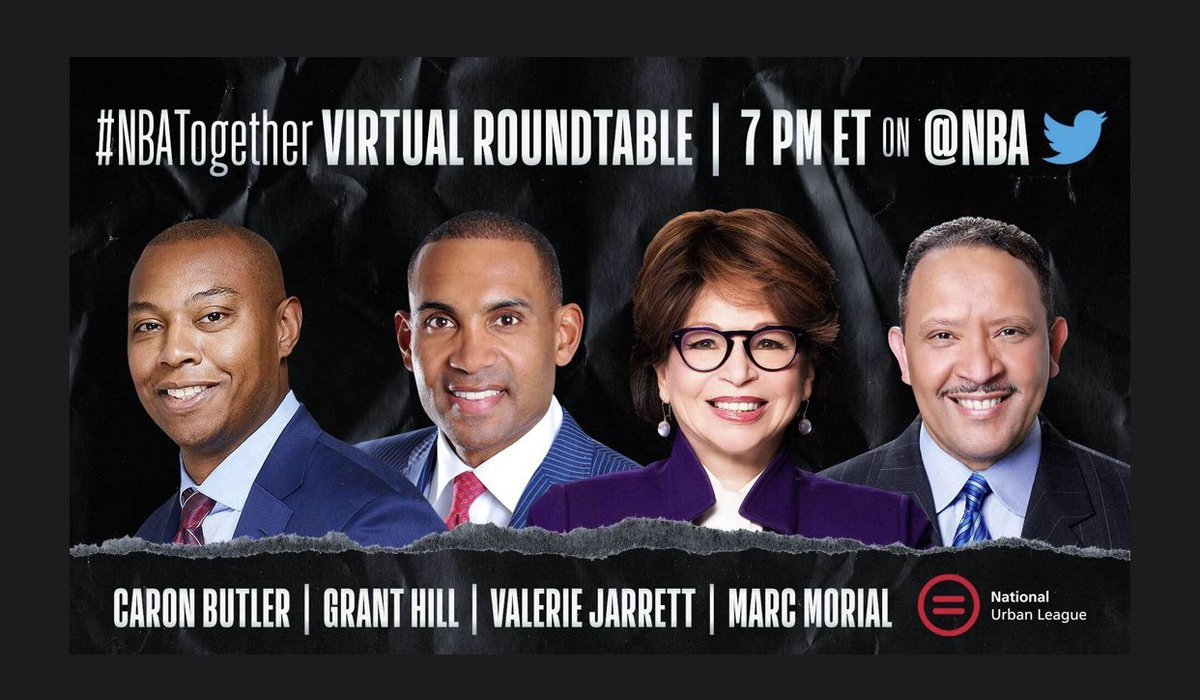 Tune in to tonight's #NBATogether Virtual Roundtable at 7 PM ET on @NBA as Caron Butler (@realtuffjuice) discusses the impact of COVID on #BlackAmerica with me, @ValerieJarrett, and @NatUrbanLeague's @MARCMORIAL. #NBAVoices https://t.co/RDkUpdKGOL