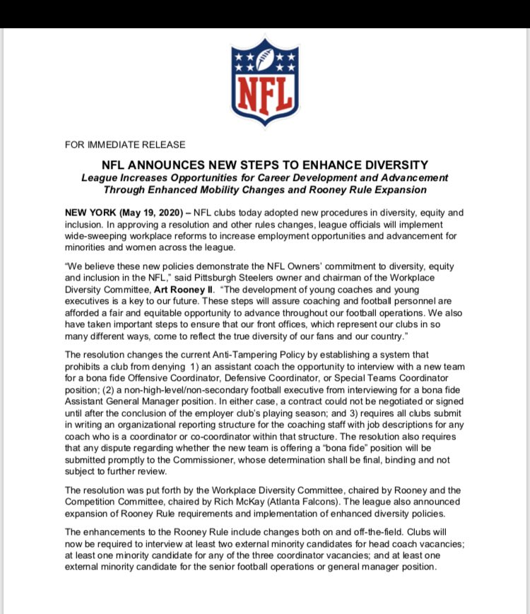 Important new steps by the #NFL to increase diversity