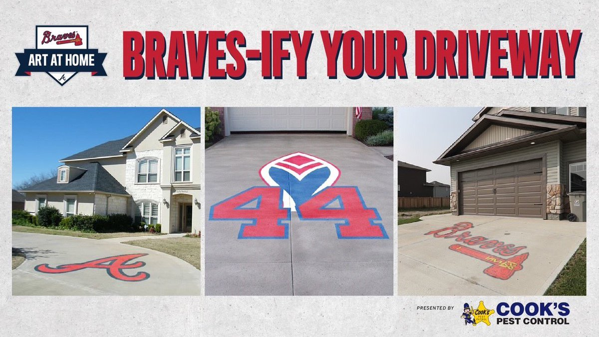 We've been admiring the creative artwork in the neighborhoods around Braves Country while we've all been at home! Post photos of your driveway artwork below ⤵️ 🎨 @cookspest
