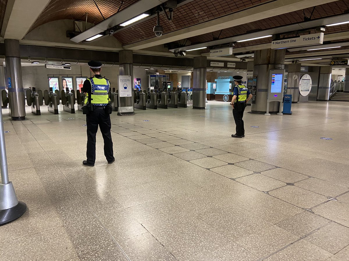 Have you seen us patrolling today? We're out and about patrolling to make sure that you can travel safely if it's essential to do so. Please make sure to wear a face mask when travelling on the underground observe social distancing when possible. #SocialDistancing