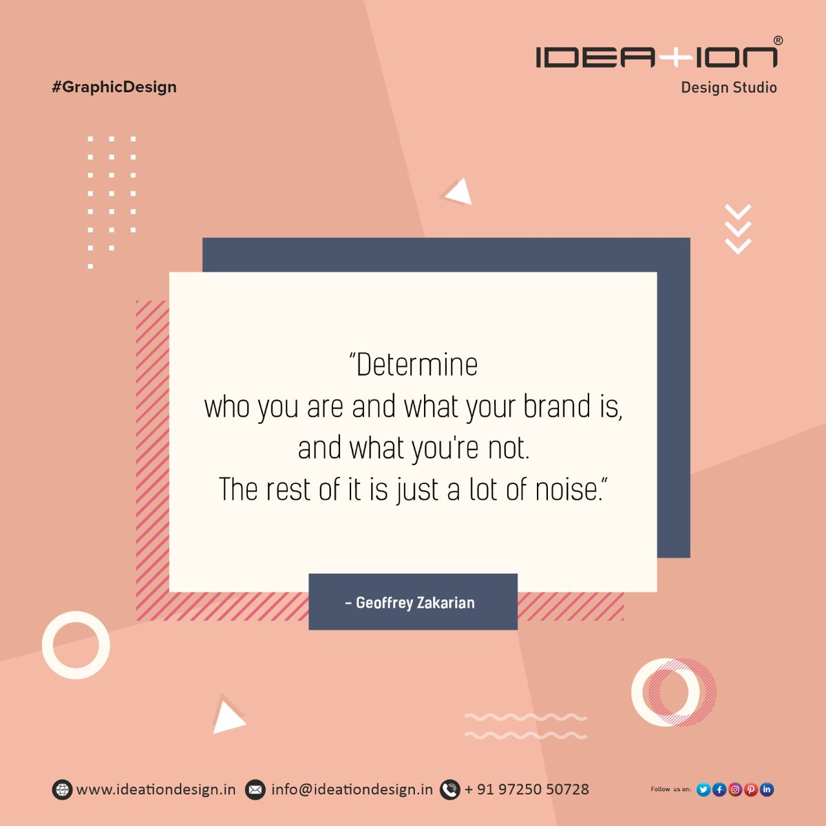 """""""Determine who you are and what your brand is, and what you're not. The rest of it is just a lot of noise.""""  #ideation #graphic #art  #design #illustration #artist #creative  #logo #graphic  FOR ANY GRAPHIC DESIGN REACH US @ +91-9725050728 or Email on: info@ideationdesign.in"""