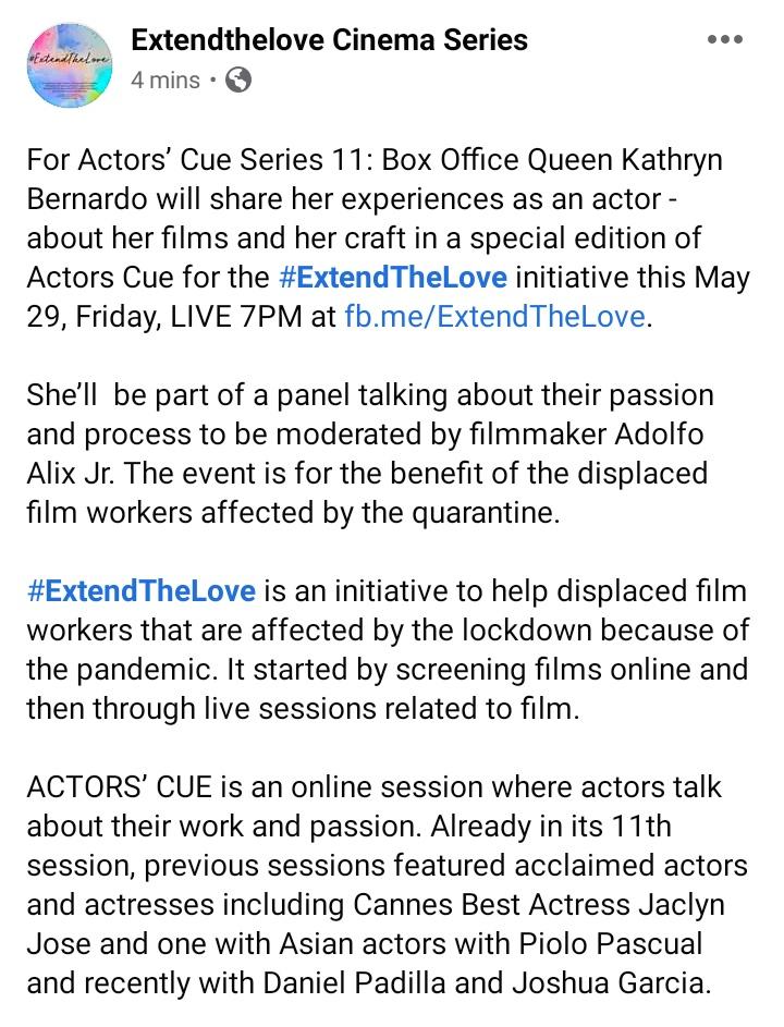 After Deej last week, si Kathryn naman this Friday for Actors' Cue Series 11. 😍