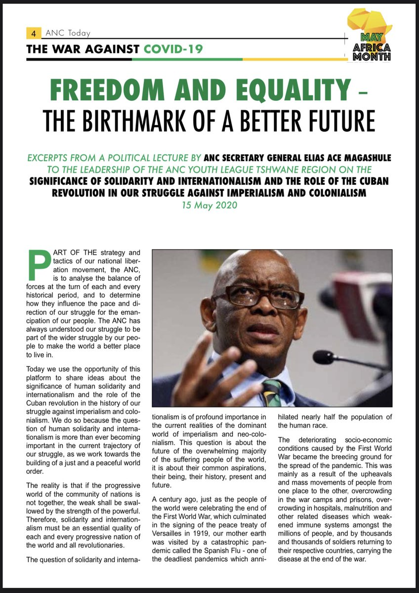 ANC TODAY  Voice of the African National Congress 22- 27 May 2020  -Freedom and equality, the birthmark of a better future -  #CoronavirusInSA and please #StayAtHome               #ProtectYourself  #DefendEachother #LetsDoItTogether #FlattenTheCurve https://t.co/bLwH03Cgtj