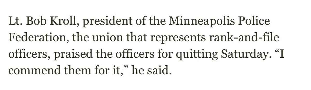 "In 2016, Bob Kroll, head of the Minny police union, ""commended"" the 4 officers who refused to work Lynx games after they wore Black Lives Matter shirts. Said players were pushing ""false narratives."" startribune.com/minneapolis-co… Today he urged not to rush to judgment re: Floyd."