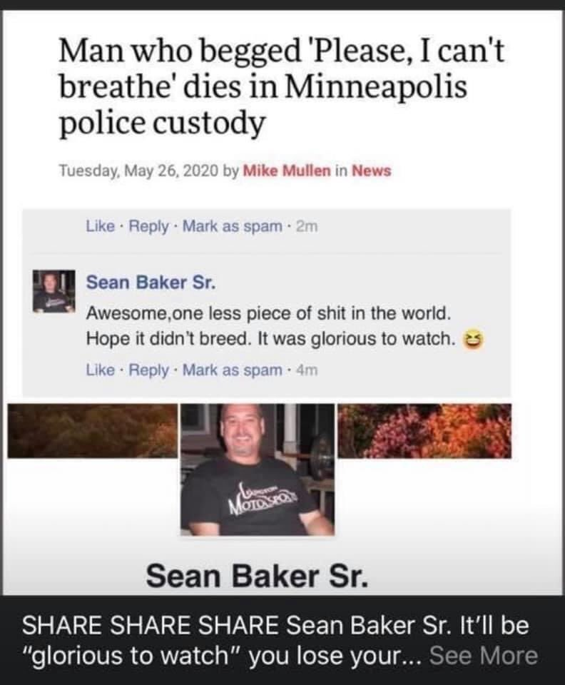 #BlackTwitter Let's make him famous and show him that freedom of speech can cost him some shit, let's find Sean Baker Sr. since he thinks it's a laughing matter to watch someone die <br>http://pic.twitter.com/aiTR5toYLC