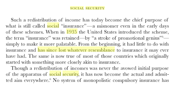 @lindsey_brink Heres Hayek in CoL (1960). Obviously you and I (and him) will have different baselines for what social insurance entails, but its pretty clear hes soured on what most people understand the term welfare state to mean by the late 1950s, if he ever really wasnt.
